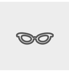 Retro cat eyeglasses thin line icon vector