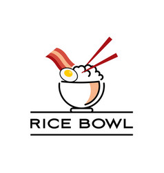 rice bowl logo with chop stick vector image