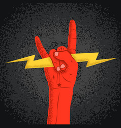 rock red hand silhouette holding lightning with vector image