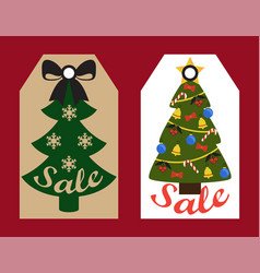 Sale new year tree set on vector
