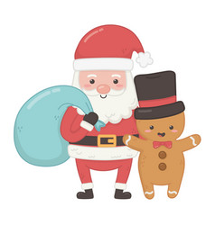 Santa with bag and gingerbread man with hat vector