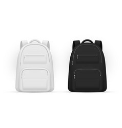 School backpacks with zippered pockets white and vector