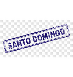 Scratched santo domingo rectangle stamp vector