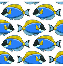 seamless pattern with fish surgeon vector image