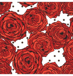 Seamless pattern with red flowers and dots vector image