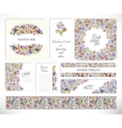 set creative universal floral cards vector image