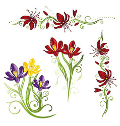 set crocuses vector image