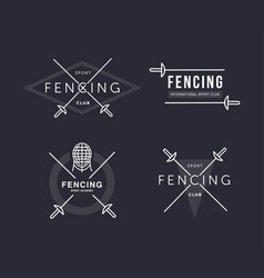Set of fencing sports logo or badge emblem vector