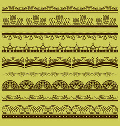 Set of lace paper with floral and decorative vector