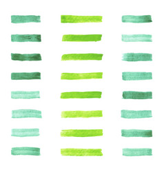 Set of watercolor pastel green brushes stroke vector