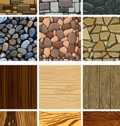 Set of wooden and stone seamless pattern vector