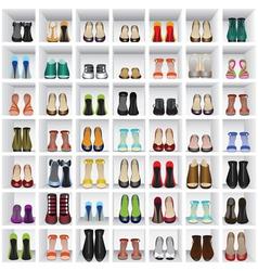 Shoes on shelves shop vector