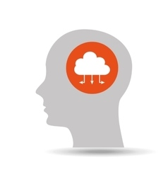 silhouette head cloud data connected icon graphic vector image