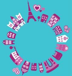 silhouettes european cities paris vector image