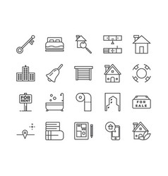simple set real estate related line icons vector image