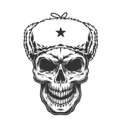 Skull in the ushanka hat vector