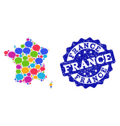 Social network map of france with speech bubbles vector