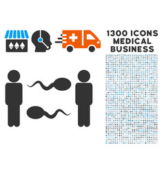 Sperm exchange men icon with 1300 medical business vector