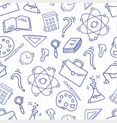 study seamless pattern with school accessories vector image