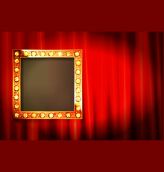 Suspended gold frame on red curtain vector