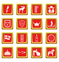 Sweden travel icons set red vector