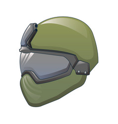 Tactical helmet icon cartoon style vector