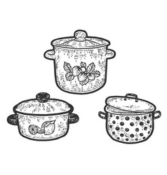 Three stock pot different sizes and designs vector
