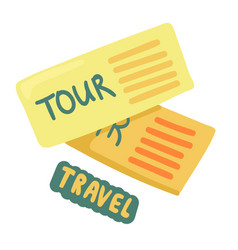 Tickets to travel two tour coupons voyage pass vector