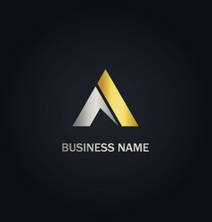 triangle abstract gold logo vector image