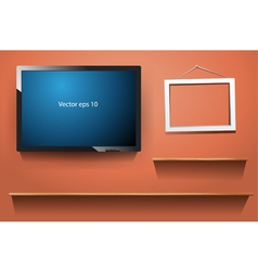 Tv on wall with wood shelf vector