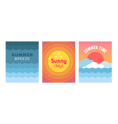 unique artistic summer cards set with bright vector image