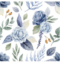 Watercolor seamless pattern in soft bluish vector