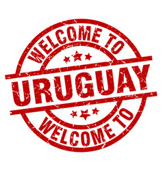 welcome to uruguay red stamp vector image