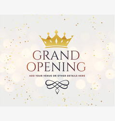 White grand opening banner with golden crown vector