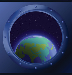 Window with planets mother earth vector