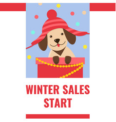winter sale banner with cute puppy in funny hat vector image