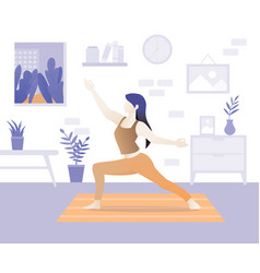 young beautiful woman character doing yoga vector image