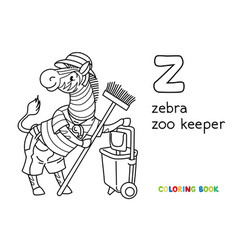 Zebra zoo keeper coloring book animal alphabet z vector