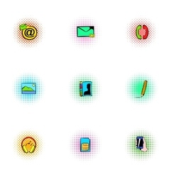 Communication over internet icons set vector image