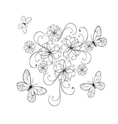 Flourishes with butterflies in black vector