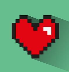 Pixelated heart on green backdrop vector image