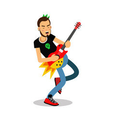 rock musician playing on electrical guitar cartoon vector image vector image