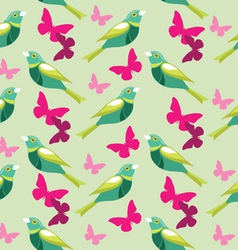 Seamless pattern with butterfly and birds vector image