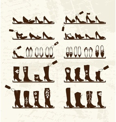 Shoes shop boots on shelves sketch for your design vector image vector image