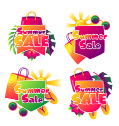 Summer sale labels with colorful elements sun vector