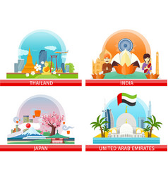 web buttons travel to japan thailand india uae vector image vector image