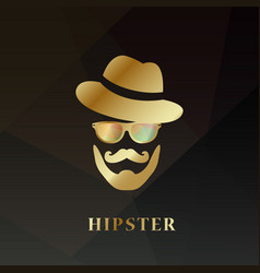 golden hipster man hipster hat vector image vector image
