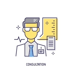 Medical consultation Diabetes line icon vector image vector image