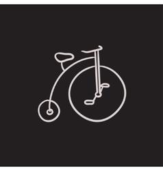 Old bicycle with big wheel sketch icon vector image vector image