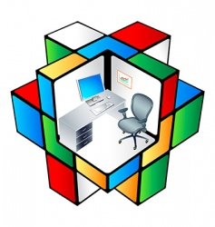 rubik office cubicle vector image vector image